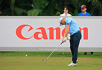 Alex Noren (Europe) on the 7th tee during the Saturday Foursomes of the Eurasia Cup at Glenmarie Golf and Country Club on the 13th January 2018.<br /> Picture:  Thos Caffrey / www.golffile.ie