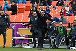 09 April 2016: DC head coach Ben Olsen argues over an offside call. DC United hosted the Vancouver Whitecaps FC at RFK Stadium in Washington, DC in a 2016 Major League Soccer regular season game. DC United won the match 4-0.