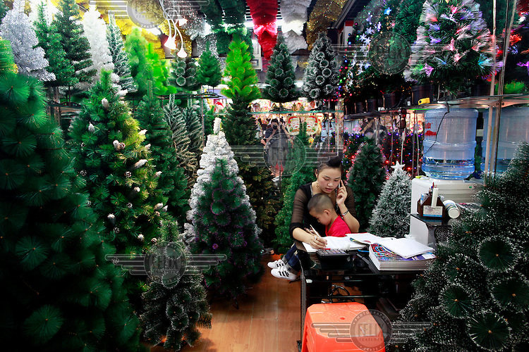 A woman, with her son on her lap , sits in her stall selling plastic Christmas trees in the Yiwu Small Commodity Market. The city of Yiwu comprises of numerous export markets selling more than 17 million different products to more than 200 countries worldwide. The Small Commodities Market itself exports more than 320,000 separate products to over 130 countries.