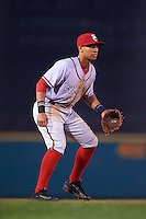 Syracuse Chiefs third baseman Chris Bostick (1) during a game against the Rochester Red Wings on July 1, 2016 at Frontier Field in Rochester, New York.  Rochester defeated Syracuse 5-3.  (Mike Janes/Four Seam Images)