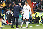 Real Madrid's coach Zinedine Zidane and Raphael Varane during La Liga match. January 29,2017. (ALTERPHOTOS/Acero)