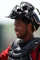Nashville Sounds catcher Robinzon Diaz (23) during a game against the Omaha Storm Chasers on May 20, 2014 at Herschel Greer Stadium in Nashville, Tennessee.  Omaha defeated Nashville 4-1.  (Mike Janes/Four Seam Images)