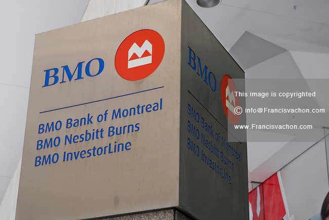 BMO logo is seen in Toronto financial district April 19, 2010. The Bank of Montreal (in French, Banque de Montréal, commonly BMO in either language), or BMO Financial Group, is the fourth largest bank in Canada by deposits.