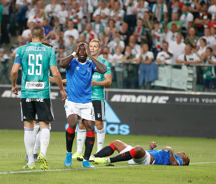 22.08.2019 Legia Warsaw v Rangers: Sheyi Ojo dismay after going close with a header