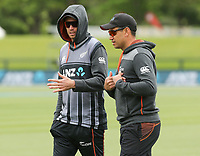 New Zealand captain Tim Southee with Ross Taylor. NZ & England T20 cricket team training at Hagley Oval in Christchurch, New Zealand on Thursday, 31 October 2019. Photo: Martin Hunter/ lintottphoto.co.nz