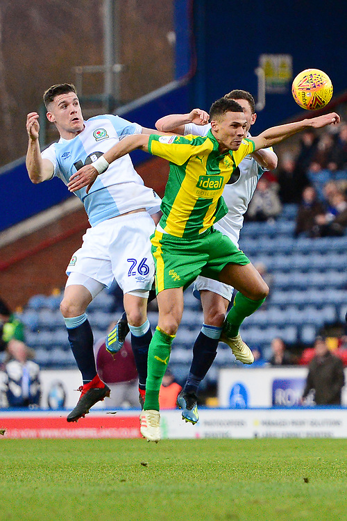Blackburn Rovers' Darragh Lenihan goes up for a header with West Bromwich Albion's Kieran Gibbs<br /> <br /> Photographer Richard Martin-Roberts/CameraSport<br /> <br /> The EFL Sky Bet Championship - Blackburn Rovers v West Bromwich Albion - Tuesday 1st January 2019 - Ewood Park - Blackburn<br /> <br /> World Copyright © 2019 CameraSport. All rights reserved. 43 Linden Ave. Countesthorpe. Leicester. England. LE8 5PG - Tel: +44 (0) 116 277 4147 - admin@camerasport.com - www.camerasport.com