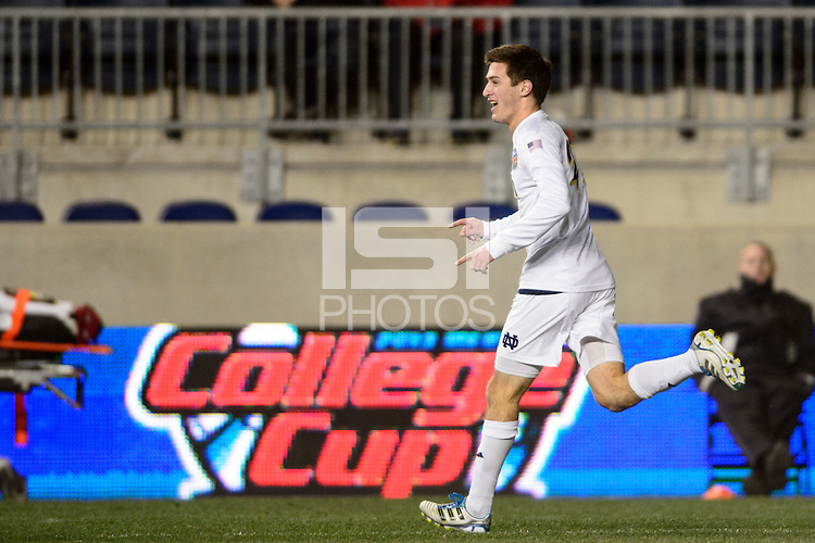 Notre Dame Fighting Irish midfielder Patrick Hodan (27) celebrates scoring during the second half against the New Mexico Lobos. The Notre Dame Fighting Irish defeated the New Mexico Lobos 2-0 during the semifinals of the 2013 NCAA division 1 men's soccer College Cup at PPL Park in Chester, PA, on December 13, 2013.