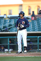 Luis Reynoso (35) of the Lancaster JetHawks bats against the Bakersfield Blaze at The Hanger on April 28, 2016 in Lancaster, California. Lancaster defeated Bakersfield, 5-4. (Larry Goren/Four Seam Images)