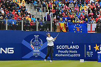 Brittany Altomare of Team USA on the 1st tee during Day 2 Fourball at the Solheim Cup 2019, Gleneagles Golf CLub, Auchterarder, Perthshire, Scotland. 14/09/2019.<br /> Picture Thos Caffrey / Golffile.ie<br /> <br /> All photo usage must carry mandatory copyright credit (© Golffile | Thos Caffrey)