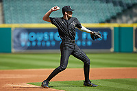 Vanderbilt Commodores shortstop Connor Kaiser (12) warms up between innings of the game against the Sam Houston State Bearkats in game one of the 2018 Shriners Hospitals for Children College Classic at Minute Maid Park on March 2, 2018 in Houston, Texas. The Bearkats walked-off the Commodores 7-6 in 10 innings.   (Brian Westerholt/Four Seam Images)