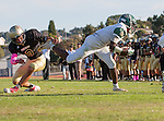 Palos Verdes, CA 10/07/16 - Justin Goring (Mira Costa #3) and Marcello Merola (Peninsula #8) in action during the CIF Bay League game between Mira Costa and Peninsula.