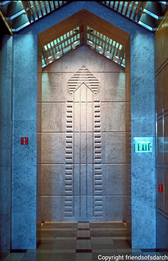 Helmut Jahn: One America Plaza, San Diego. Wall terminating elevator hall.  Photo '92.