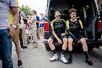 Matteo Trentin (ITA/Mitchelton-Scott) & Christopher Juul-Jensen (DEN/Michelton-Scott) needing some recuperation time after finishing the TTT<br /> <br /> Stage 2 (TTT): Brussels to Brussels (BEL/28km) <br /> 106th Tour de France 2019 (2.UWT)<br /> <br /> ©kramon