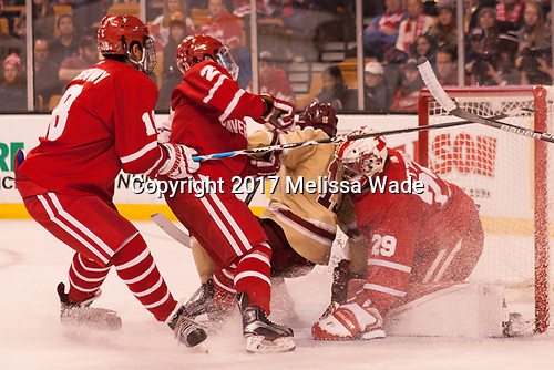 Jordan Greenway (BU - 18), Patrick Harper (BU - 21), JD Dudek (BC - 15), Jake Oettinger (BU - 29) - The Boston University Terriers defeated the Boston College Eagles 3-1 in their opening Beanpot game on Monday, February 6, 2017, at TD Garden in Boston, Massachusetts.
