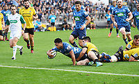 14th June 2020, Aukland, New Zealand;  TJ Faiane scores a try at the Investec Super Rugby Aotearoa match, between the Blues and Hurricanes held at Eden Park, Auckland, New Zealand.
