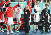 25.01.2013 Barcelona, Spain. IHF men's world championship, Semi-final. Picture show Denmark brench  in action during game between Spain vs Slovenia at Palau St. Jordi
