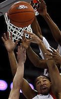 Utah's Lawrence Borha. Utah vs. Wyoming men's college basketball, Mountain West Conference Tournament in Denver.