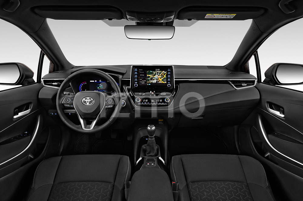 Stock photo of straight dashboard view of a 2019 Toyota Corolla Dynamic 5 Door Hatchback