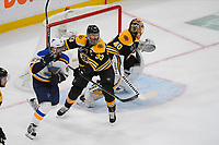 June 6, 2019: Boston Bruins defenseman Zdeno Chara (33) keeps St. Louis Blues left wing David Perron (57) out of the paint during game 5 of the NHL Stanley Cup Finals between the St Louis Blues and the Boston Bruins held at TD Garden, in Boston, Mass. Eric Canha/CSM