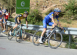 Enric Mas Nicolau (ESP) Quick-Step Floors and George Bennett (NZL) LottoNL-Jumbo climbs Sierra de la Alfaguara during Stage 4 of the La Vuelta 2018, running 162km from Velez-Malaga to Alfacar, Sierra de la Alfaguara, Andalucia, Spain. 28th August 2018.<br /> Picture: Colin Flockton | Cyclefile<br /> <br /> <br /> All photos usage must carry mandatory copyright credit (&copy; Cyclefile | Colin Flockton)