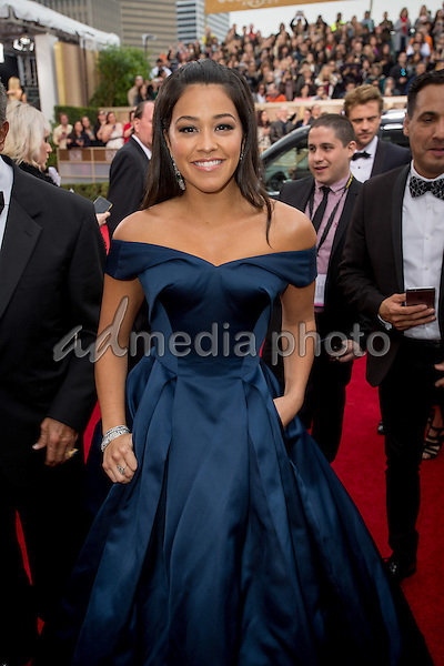 Actress Gina Rodriguez attends the 73rd Annual Golden Globes Awards at the Beverly Hilton in Beverly Hills, CA on Sunday, January 10, 2016. Photo Credit: HFPA/AdMedia