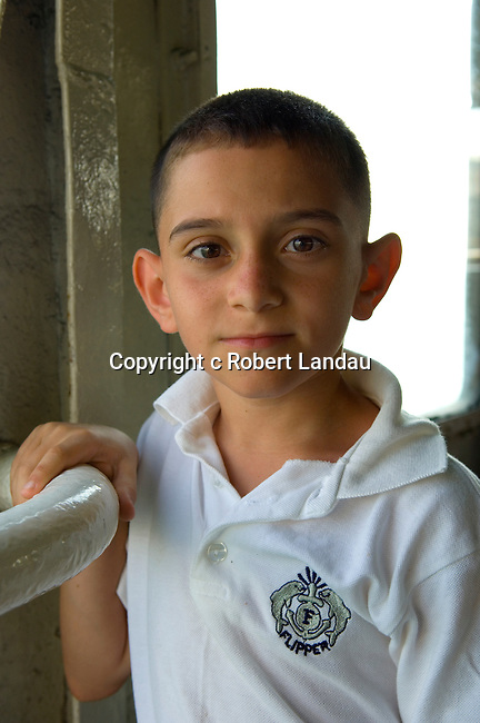 Young Turkish boy on ferry boat, Istanbul, Turkey