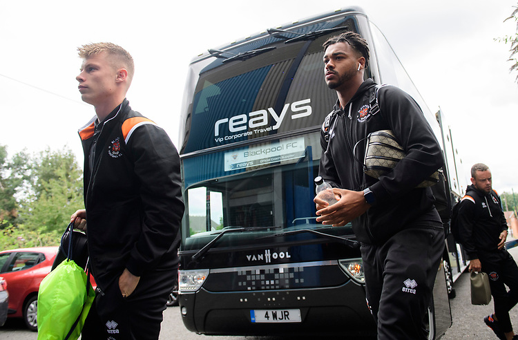 Blackpool's Calum MacDonald, left, and Blackpool's Joe Nuttall gets off the team bus after arriving at the ground<br /> <br /> Photographer Chris Vaughan/CameraSport<br /> <br /> The EFL Sky Bet League One - Coventry City v Blackpool - Saturday 7th September 2019 - St Andrew's - Birmingham<br /> <br /> World Copyright © 2019 CameraSport. All rights reserved. 43 Linden Ave. Countesthorpe. Leicester. England. LE8 5PG - Tel: +44 (0) 116 277 4147 - admin@camerasport.com - www.camerasport.com