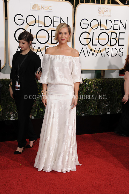 WWW.ACEPIXS.COM<br /> <br /> January 11 2015, LA<br /> <br /> Kristen Wiig arriving at the 72nd Annual Golden Globe Awards at The Beverly Hilton Hotel on January 11, 2015 in Beverly Hills, California.<br /> <br /> <br /> By Line: Peter West/ACE Pictures<br /> <br /> <br /> ACE Pictures, Inc.<br /> tel: 646 769 0430<br /> Email: info@acepixs.com<br /> www.acepixs.com