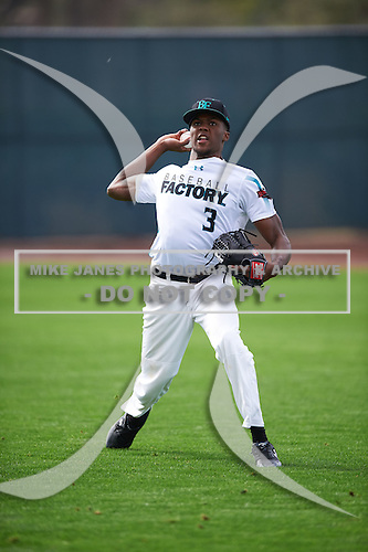 Elijah Mundy (3) of LEESVILLE High School in Leesville, Louisiana during the Under Armour All-American Pre-Season Tournament presented by Baseball Factory on January 14, 2017 at Sloan Park in Mesa, Arizona.  (Mike Janes/Mike Janes Photography)
