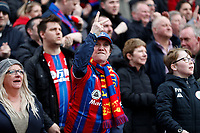 7th March 2020; Selhurst Park, London, England; English Premier League Football, Crystal Palace versus Watford; Crystal Palace fan gesturing towards the Watford fans after Jordan Ayew of Crystal Palace scored his sides 1st goal in the 28th minute to make it 1-0