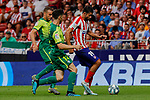 Diego Costa of Atletico de Madrid and Paulo Oliveira of SD Eibar in action during La Liga match between Atletico de Madrid and SD Eibar at Wanda Metropolitano Stadium in Madrid, Spain.September 01, 2019. (ALTERPHOTOS/A. Perez Meca)