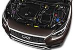 Car Stock 2017 Infiniti QX0 Premium-Tech-4wd 5 Door Suv Engine  high angle detail view