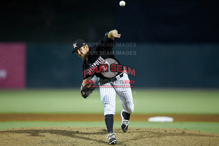 Kannapolis Intimidators relief pitcher Bennett Sousa (27) delivers a pitch to the plate against the Hagerstown Suns at Kannapolis Intimidators Stadium on July 16, 2018 in Kannapolis, North Carolina. The Intimidators defeated the Suns 7-6. (Brian Westerholt/Four Seam Images)