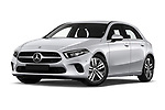 Stock pictures of low aggressive front three quarter view of 2019 Mercedes Benz A-Class Progressive 5 Door Hatchback Low Aggressive