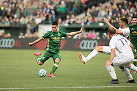 PORTLAND, OR - MARCH 01: Felipe Mora #9 of the Portland Timbers takes a shot during a game between Minnesota United FC and Portland Timbers at Providence Park on March 01, 2020 in Portland, Oregon.