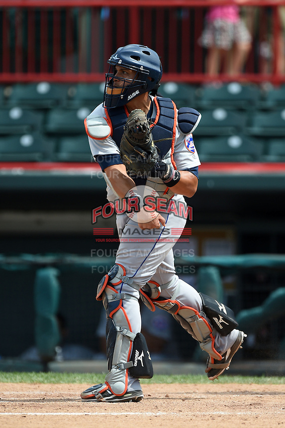 Binghamton Mets catcher Xorge Carrillo (44) throws down to second during a game against the Erie Seawolves on July 13, 2014 at Jerry Uht Park in Erie, Pennsylvania.  Binghamton defeated Erie 5-4.  (Mike Janes/Four Seam Images)