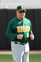 Siena Saints head coach Tony Rossi #40 during a game against the UCF Knights at the UCF Baseball Complex on March 3, 2012 in Orlando, Florida.  UCF defeated Siena 6-4.  (Mike Janes/Four Seam Images)