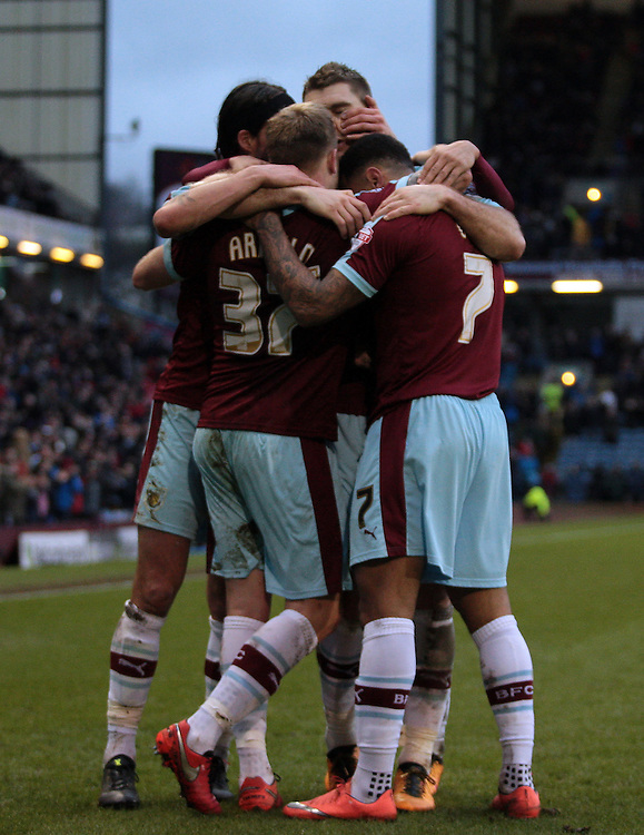 Burnley celebrate going 2-0 ahead via Scott Arfield's strike<br /> <br /> Photographer David Shipman/CameraSport<br /> <br /> Football - The Football League Sky Bet Championship - Burnley v Rotherham United - Saturday 20th February 2016 - Turf Moor <br /> <br /> &copy; CameraSport - 43 Linden Ave. Countesthorpe. Leicester. England. LE8 5PG - Tel: +44 (0) 116 277 4147 - admin@camerasport.com - www.camerasport.com