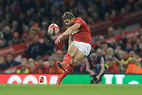 Wales' Leigh Halfpenny converts his side second try <br /> <br /> Photographer Ian Cook/CameraSport<br /> <br /> Under Armour Series Autumn Internationals - Wales v Scotland - Saturday 3rd November 2018 - Principality Stadium - Cardiff<br /> <br /> World Copyright &copy; 2018 CameraSport. All rights reserved. 43 Linden Ave. Countesthorpe. Leicester. England. LE8 5PG - Tel: +44 (0) 116 277 4147 - admin@camerasport.com - www.camerasport.com