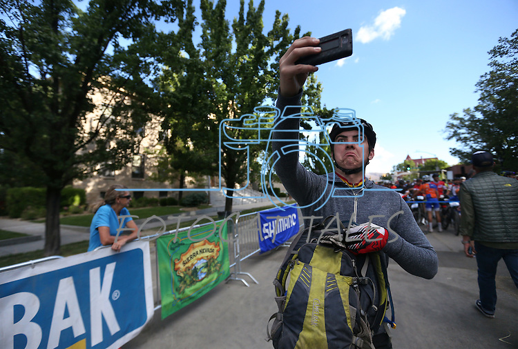 A rider takes a selfie before the start of the Epic Rides Carson City Off-Road in Carson City, Nev., on Saturday, June 18, 2016.<br />