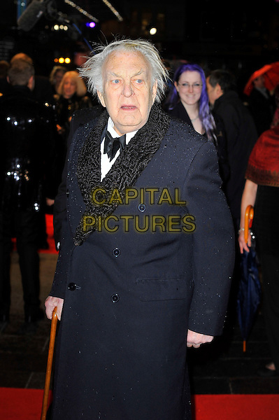 "Sir Donald Sinden.The ""Run For Your Wife"" world film premiere, Odeon Leicester Square cinema, Leicester Square, London, England..February 5th, 2013.half length black coat blue bow tie  .CAP/MAR.© Martin Harris/Capital Pictures."