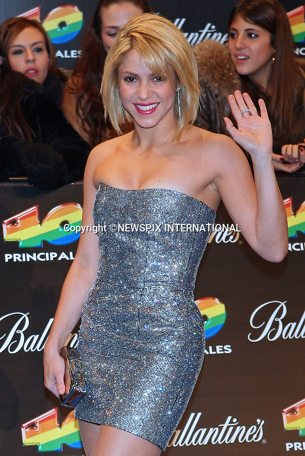 "SHAKIRA.attends the 40 Principales 2011 Awards..""The Hips Don't Lie"" Columbian hitmaker picked up the award for Most Influential Latin Artist and Best Foreign Artist in the Spanish Language. .Enrique Iglesias walked away with the Best Music Video prize for Tonight (I'm Loving You) and Most Influential Spanish Artist in the World Award..The event at Madrid's Palacio de los Deportes saw performances by Shakira, Enrique Iglesias, British pop star Jessie J and Romanian singer Alexandra Stan..Los 40 Principales is the main musical radio station in Spain with more than four million listeners_09/12/2011.Mandatory Credit Photo: ©NEWSPIX INTERNATIONAL..                 **ALL FEES PAYABLE TO: ""NEWSPIX INTERNATIONAL""**..IMMEDIATE CONFIRMATION OF USAGE REQUIRED:.Newspix International, 31 Chinnery Hill, Bishop's Stortford, ENGLAND CM23 3PS.Tel:+441279 324672  ; Fax: +441279656877.Mobile:  07775681153.e-mail: info@newspixinternational.co.uk"