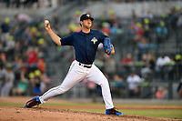 Pitcher Tylor Megill (35) of the Columbia Fireflies delivers a pitch in a game against the Augusta GreenJackets on Saturday, June 1, 2019, at Segra Park in Columbia, South Carolina. Columbia won, 3-2. (Tom Priddy/Four Seam Images)