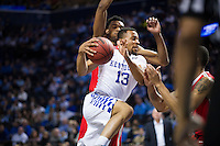 BROOKLYN, NY - Saturday December 19, 2015: Isaiah Briscoe (#13) of Kentucky drives the lane against Ohio State as the two teams square off in the CBS Classic at Barclays Center in Brooklyn, NY.