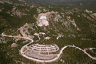 Mount Rushmore National Memorial (US National Park) as documented on May 2nd, 1986 by photographer Jean Pierre Laffont as part of an assignment for the book 'A Day in the Life of America' published by Collins - RMount Rushmore massive parking lot in foreground