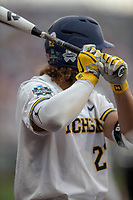 Michigan Wolverines outfielder Jordan Brewer (22) on deck during Game 1 of the NCAA College World Series against the Texas Tech Red Raiders on June 15, 2019 at TD Ameritrade Park in Omaha, Nebraska. Michigan defeated Texas Tech 5-3. (Andrew Woolley/Four Seam Images)