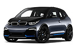 Stock pictures of low aggressive front three quarter view of a 2018 BMW i3 S 5 Door Hatchback