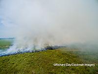 63863-02710 Summer prairie burn Prairie Ridge State Natural Area - aerial - Marion Co. IL