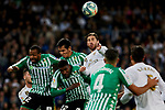 Sergio Ramos of Real Madrid and Emerson Aparecido of Real Betis Balompie during La Liga match between Real Madrid and Real Betis Balompie at Santiago Bernabeu Stadium in Madrid, Spain. November 02, 2019. (ALTERPHOTOS/A. Perez Meca)