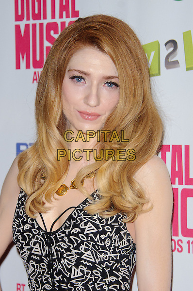Nicola Roberts.BT Digital Music Awards held at the Roundhouse, Chalk Farm, London, England..September 29th 2011.headshot portrait black white grey gray print necklace gold .CAP/CJ.©Chris Joseph/Capital Pictures.